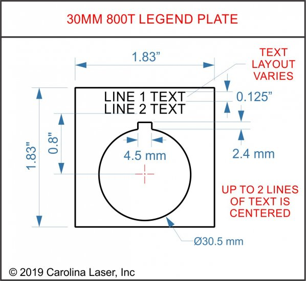 Plastic Legend Plate - 30mm 800T - 2 Lines - Click Image to Close