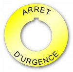 Plastic Legend Plate 30mm Emergency Stop French