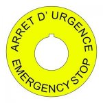 22mm French-English Emergency Stop Legend Plate