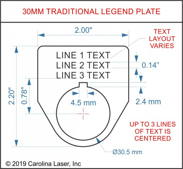 Plastic Legend Plate - 30mm Traditional - 3 Lines - Click Image to Close