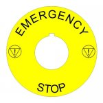 22mm Euro Style Emergency Stop Legend Plate
