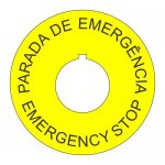 22mm Spanish-English Emergency Stop Legend Plate