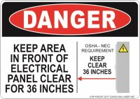 "5"" x 7"" Panel Keep Clear 36 Inches Decal"