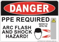 "5"" x 7"" Danger Arc Flash Warning Decal"